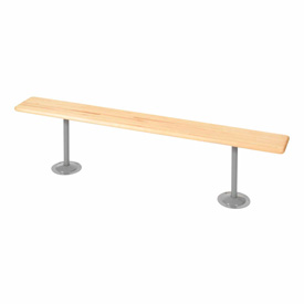 "Locker Bench Hardwood Top w/Steel Tube Pedestals, Bolt Down Style, 72""W x 9-1/2""D x 17""H"