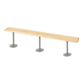 "Locker Bench Hardwood Top w/Steel Pedestals, Bolt Down Style, 120""W x 9-1/2""D x 17""H"