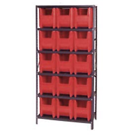 Quantum QSBU-600 Shelving With 15 Giant Hopper Bins Red, 36x18x75