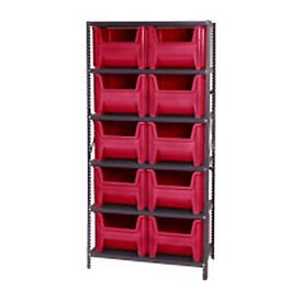 Quantum QSBU-800 Shelving With 10 Giant Hopper Bins Red, 36x18x75