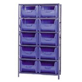Quantum QSBU-800 Shelving With 10 Giant Hopper Bins Blue, 36x18x75