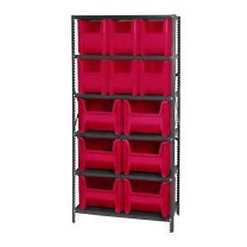 Quantum QSBU-600800 Shelving With 12 Giant Hopper Bins Red, 36x18x75