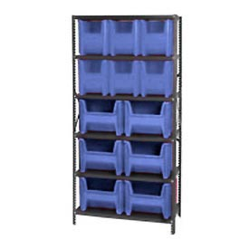 Quantum QSBU-600800 Shelving With 12 Giant Hopper Bins Blue, 36x18x75