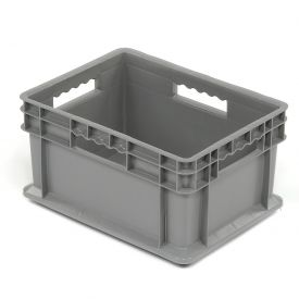 "Akro-Mils Straight Wall Container 37288 Solid Sides And Base 16""L x 12""W x 8-1/4""H, Gray - Pkg Qty 12"