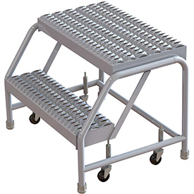 "2 Step Aluminum Rolling Ladder, 24""W Grip Step, W/O Handrails"