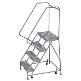 "4 Step Aluminum Rolling Ladder, 24""W Grip Step, 30"" Handrails"