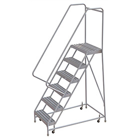 "6 Step Aluminum Rolling Ladder, 24""W Ribbed Step, 30"" Handrails"