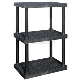 "Structural Plastic Adjustable Solid Shelving, 36""W x 24""D x 45""H, Black"