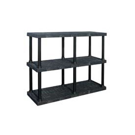 "Structural Plastic Adjustable Solid Shelving, 66""W x 24""D x 45""H, Black"