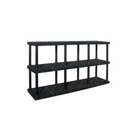 "Structural Plastic Adjustable Solid Shelving, 96""W x 24""D x 45""H, Black"