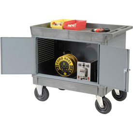 "Mobile Tray Top Shelf Maintenance Cart with 8"" Pneumatic Casters"