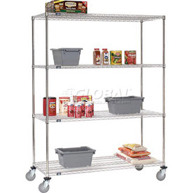 Nexel® Stainless Steel Wire Shelf Truck 48x18x80 1200 Lb. Capacity
