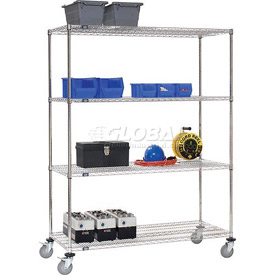 Nexel® Stainless Steel Wire Shelf Truck 48x24x80 1200 Lb. Cap. with Brakes