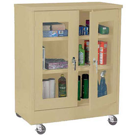 Sandusky Mobile Clear View Counter Height Storage Cabinet TA2V361842 -36x18x48, Sand