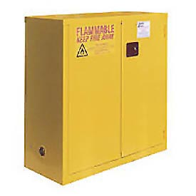 "Global&#8482 Flammable Cabinet - 30 Gallon - Manual Close Bi-Fold Single Door - 43""W x 18""D x 44""H"