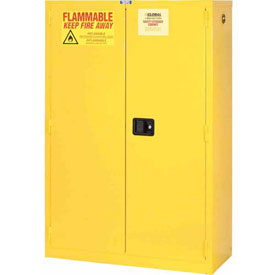"Global&#8482 Flammable Cabinet - 45 Gallon - Manual Close Double Door - 43""W x 18""D x 65""H"