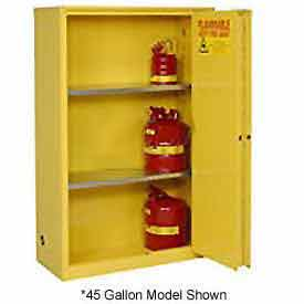 "Global™ Flammable Cabinet - 60 Gallon - Manual Close Bi-Fold Single Door - 34""W x 34""D x 65'H"