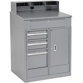 "Shop Desk with 4 Drawers and Cabinet - Gray 34.5""W x 30""D x 51.5""H"