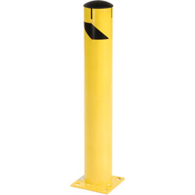 "Steel Bollard With Removable Plastic Cap & Chain Slots - Existing Concrete 36"" x 5-1/2"""