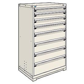 Rousseau Modular Storage Drawer Cabinet 36x24x60, 8 Drawers (5 Sizes) w/o Divider, w/Lock, Beige