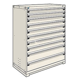 Rousseau Modular Storage Drawer Cabinet 48x24x60, 10 Drawers (3 Sizes) w/o Divider, w/Lock, Beige