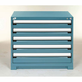 Rousseau Modular Storage Drawer Cabinet 36x24x32, 5 Drawers (2 Sizes) w/o Divider, w/Lock, Blue
