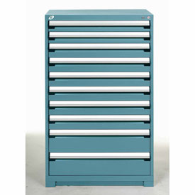 Rousseau Modular Storage Drawer Cabinet 36x24x60, 10 Drawers (3 Sizes) w/o Divider, w/Lock, Blue