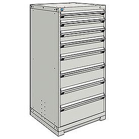 Rousseau Modular Storage Drawer Cabinet 30x27x60, 8 Drawers (5 Sizes) w/o Divider, w/Lock, Gray
