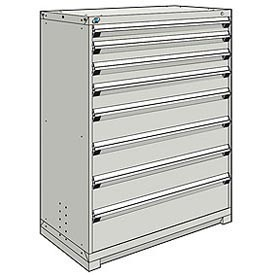 Rousseau Modular Storage Drawer Cabinet 48x24x60, 8 Drawers (5 Sizes) w/o Divider, w/Lock, Gray