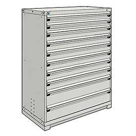 Rousseau Modular Storage Drawer Cabinet 48x24x60, 10 Drawers (3 Sizes) w/o Divider, w/Lock, Gray