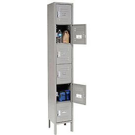 Infinity™ Locker Six Tier 12x15x12 6 Door Assembled Gray