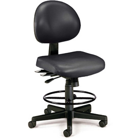 OFM 24 Hour Ergonomic Armless Task Chair with Drafting Kit, Antimicrobial Vinyl, Mid Back, Black