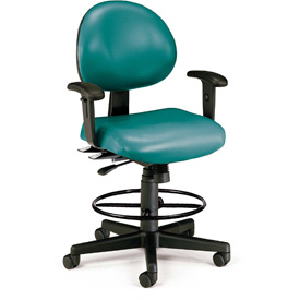 OFM 24 Hour Ergonomic Task Chair with Arms and Drafting Kit, Antimicrobial Vinyl, Mid Back, Teal