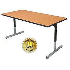 "Allied Plastics Adjustable Height Pedestal Leg Computer and Activity Table - 30"" x 60"" - Oak"
