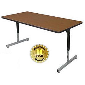 "Allied Plastics Adjustable Height Pedestal Leg Computer and Activity Table - 30"" x 72"" - Walnut"