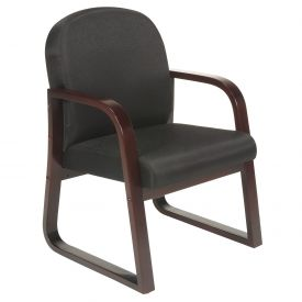 Boss Reception Guest Chair with Arms and Wood Frame - Fabric - Black