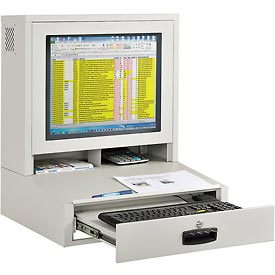 LCD Counter Top Security Computer Cabinet - Gray