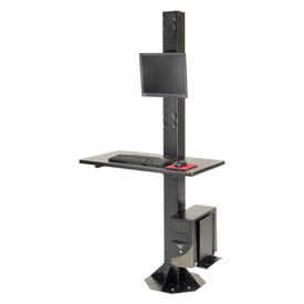 "81""H Stationary Floor Mount Orbit Computer Station with VESA LCD Mount - Black"