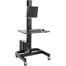 "78""H Mobile Computer Workstation with VESA Mount - Black"
