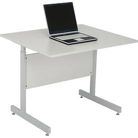 "Interion® Height Adjustable Computer Desk/Table, 36""W x 30""D x 26""- 28""H, Gray"