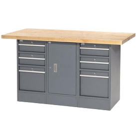 "60""W x 30""D Maple Top 6 Drawer/1 Cabinet Workbench"