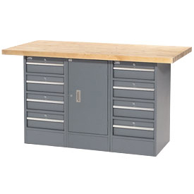 "60""W x 30""D Maple Top 8 Drawer/1 Cabinet Workbench"