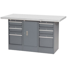 "60""W x 30""D Plastic Top 6 Drawer/1 Cabinet Workbench"