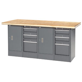 "72""W x 30""D Shop Top 6 Drawer/2 Cabinet Workbench"