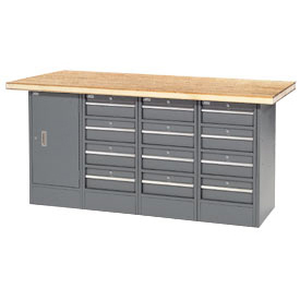 "72""W x 30""D Shop Top 12 Drawer/1 Cabinet Workbench"