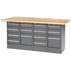 "72""W x 30""D Shop Top 14 Drawer Workbench"