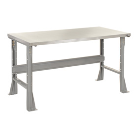 "48""W X 30""D X 34""H Stainless Steel Square Edge Workbench - Gray"
