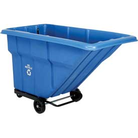 Blue Standard Duty Plastic Recycling Tilt Truck 1 Cu. Yard and 1000 Lb. Capacity