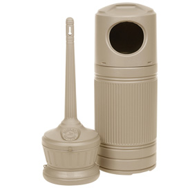 Smokers' Outpost & Littermate Trash Can Combo Beige