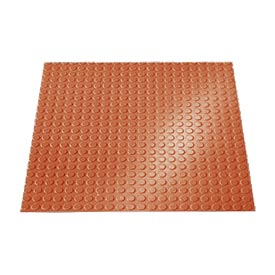 "Rubber Tile Round Disc Pattern 24""W X 24""L Walnut - Pkg Qty 3"